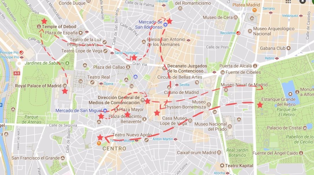 Madrid map - A weekend in Madrid